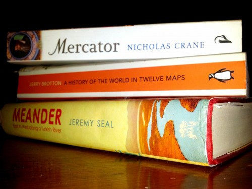 stack of map books