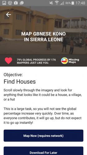 MapSwipe main project screen